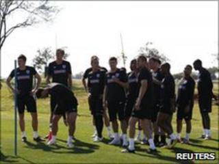 The England team rests after a recent practice
