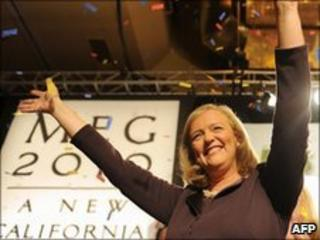 California Republican Party gubernatorial candidate Meg Whitman celebrates