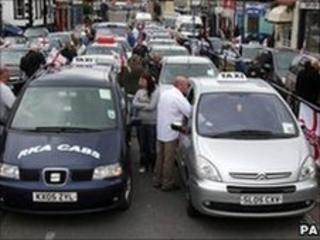 Taxi drivers during the service in Whitehaven