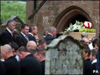 Garry Purdham's coffin at St Mary's Church in Gosforth, Cumbria