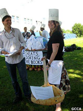 Protesters outside the UN Climate Convention in Bonn