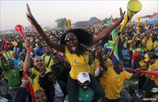 South African fans celebrating during the match