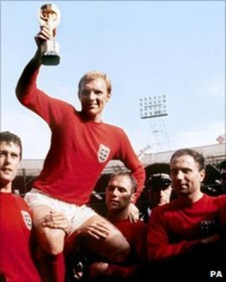 England captain Bobby Moore lifts World Cup trophy in 1966
