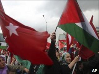 Pro-Palestinian Turks demonstrate in Ankara - 6 June 2010