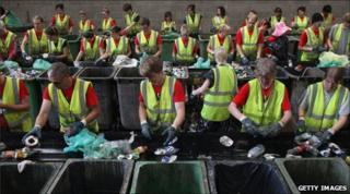 Rubbish is sorted at Glastonbury in 2009