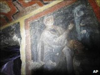 Images of Apostles Peter and Paul in a Rome catacomb