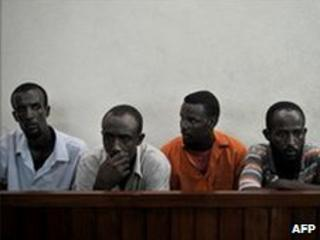 Suspected pirates on trial in Mombasa (file photo)
