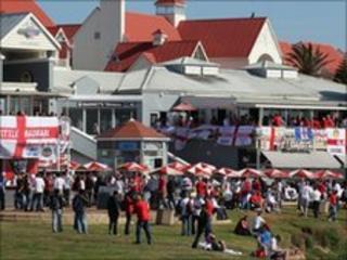 England Fans descend on Port Elizabeth ahead of England's match against Slovenia