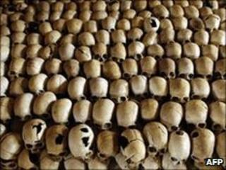 Skulls of victims at the Genocide Memorial Site church of Ntarama, Rwanda