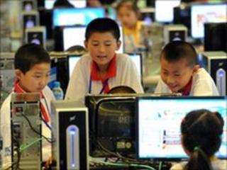 Chinese children using computers