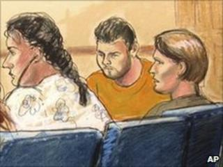 Artist's impression of some of the arrested Russian spy suspects in a New York courtroom
