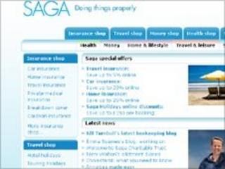 Screen grab of Saga website