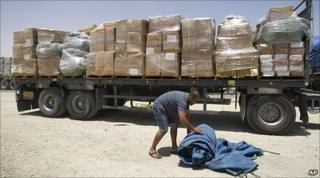Gaza-bound goods at the Kerem Shalom crossing on the Israel-Gaza border 22.6.10