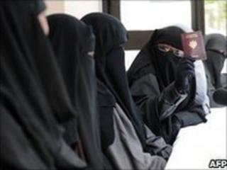 Veiled Muslim women attend a meeting in Montreuil, outside Paris. Photo: May 2010