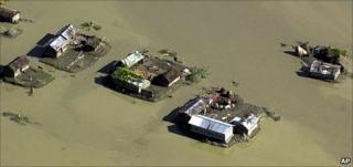 Flooded properties in Bangladesh (Image: AP)