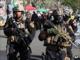 Iraqi security forces in Kadhimiya, Baghdad, 8 July