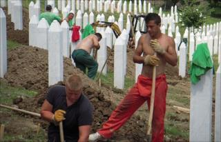 Fresh graves being dug in Srebrenica