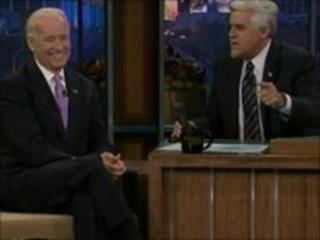 Joe Biden and Jay Leno, videograb