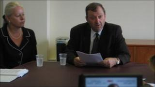 Senator Ian Le Marquand at Press conference