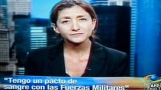 "Ingrid Betancourt speaking to Caracol on 11 July with the caption ""I have a blood pact with the military"""