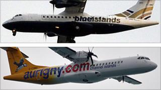 Blue islands and Aurigny planes