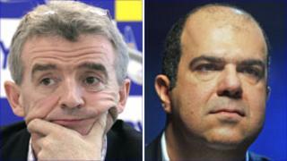 Michael O'Leary (L) and Sir Stelios Haji-Ioannou