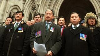 Ghurkhas outside the High Court