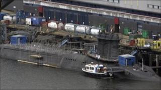 A trident submarine is pictured with a long lens at the Faslane naval base, Scotland, 14 March 2007