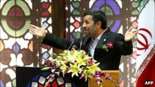 Iranian President Mahmoud Ahmadinejad addresses expatriate Iranians in a televised speech
