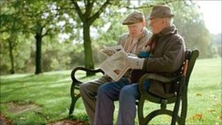 Two men on a park bench