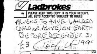 Aliens to land on Earth betting slip