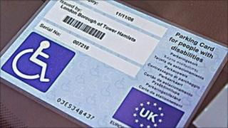 Blue badge parking card