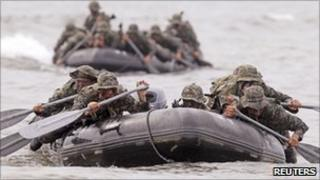 South Korean soldiers on a drill, 12/08