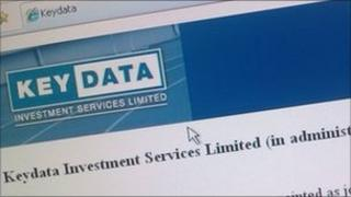 Photo of computer screen displaying Keydata logo with information that the company is in administration.