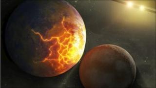 Worlds collide around double star