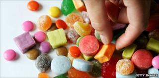 Multi-coloured sweets