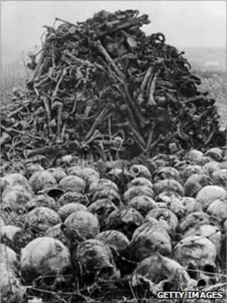 Bones at the Nazi concentration camp of Majdanek in the outskirts of Lublin 1944