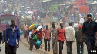 People walk in Nairobi, on 31 August 2010