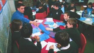 Junior school children in classroom