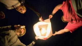 Chinese lantern at the Glastonbury festival