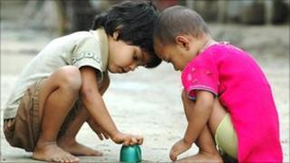 Two Bengali children playing