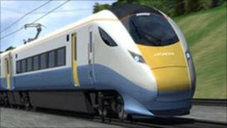 Computer-generated depiction of one of the new Hitachi trains