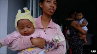 Women with babies in An Giang province, Vietnam (file image)