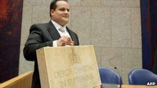Dutch Finance Minister Jan Kees de Jager presents 2011 budget in parliament in The Hague, 21 September