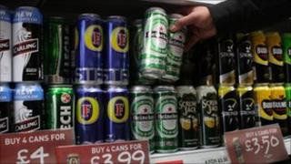 Lager and cider on sale
