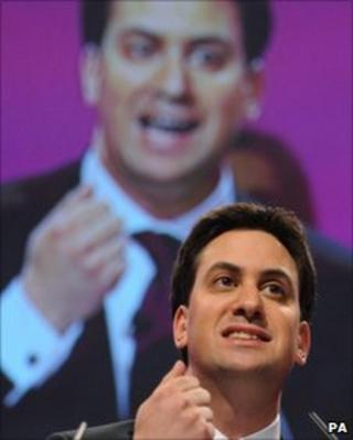 Ed Miliband giving his keynote conference speech