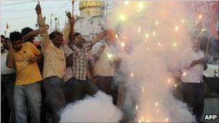 Hindu nationalist groups celebrate in Amritsar after Ayodhya verdict - 30 Sept 2010