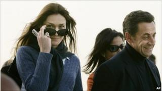 President Sarkozy on holiday in Egypt with then girlfriend Carla Bruni in December, 2007