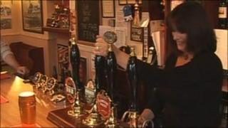 Karen Murphy in the Red, White and Blue pub in Portsmouth