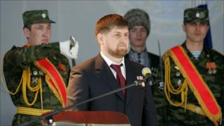 Chechen President Ramzan Kadyrov during his inauguration in Grozny in April 2007